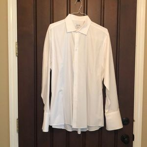Calvin Klein French Cuff White Dress Shirt, 17 1/2